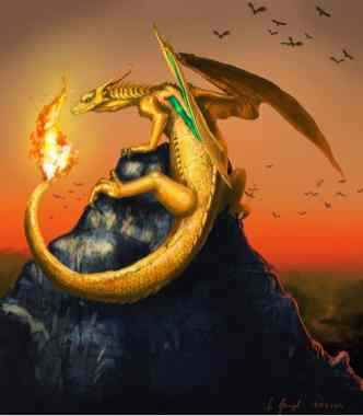 peinture réaliste du pokémon dracofeu par Simon Gangl