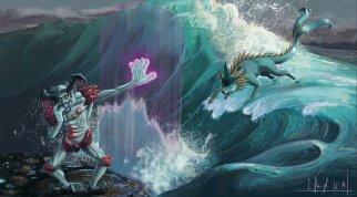 peinture réaliste des pokemon Mr Mime et Aquali par Simon Gangl