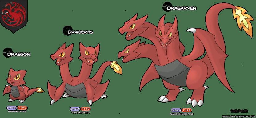 dragon trois tetes blason targaryen game of thrones en version pokémon