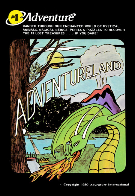 Cassette cover of the 1980 version of Adventureland for the TRS-80