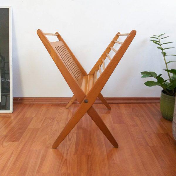 mid century modern magazine rack record stand wooden newspaper holder folding design by niko kralj home decor 60s