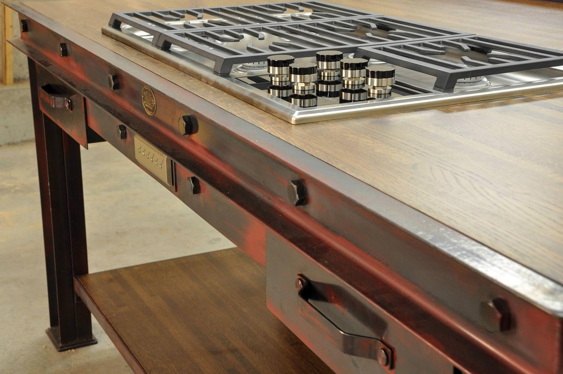 industrial kitchen island tops cabinets vintage