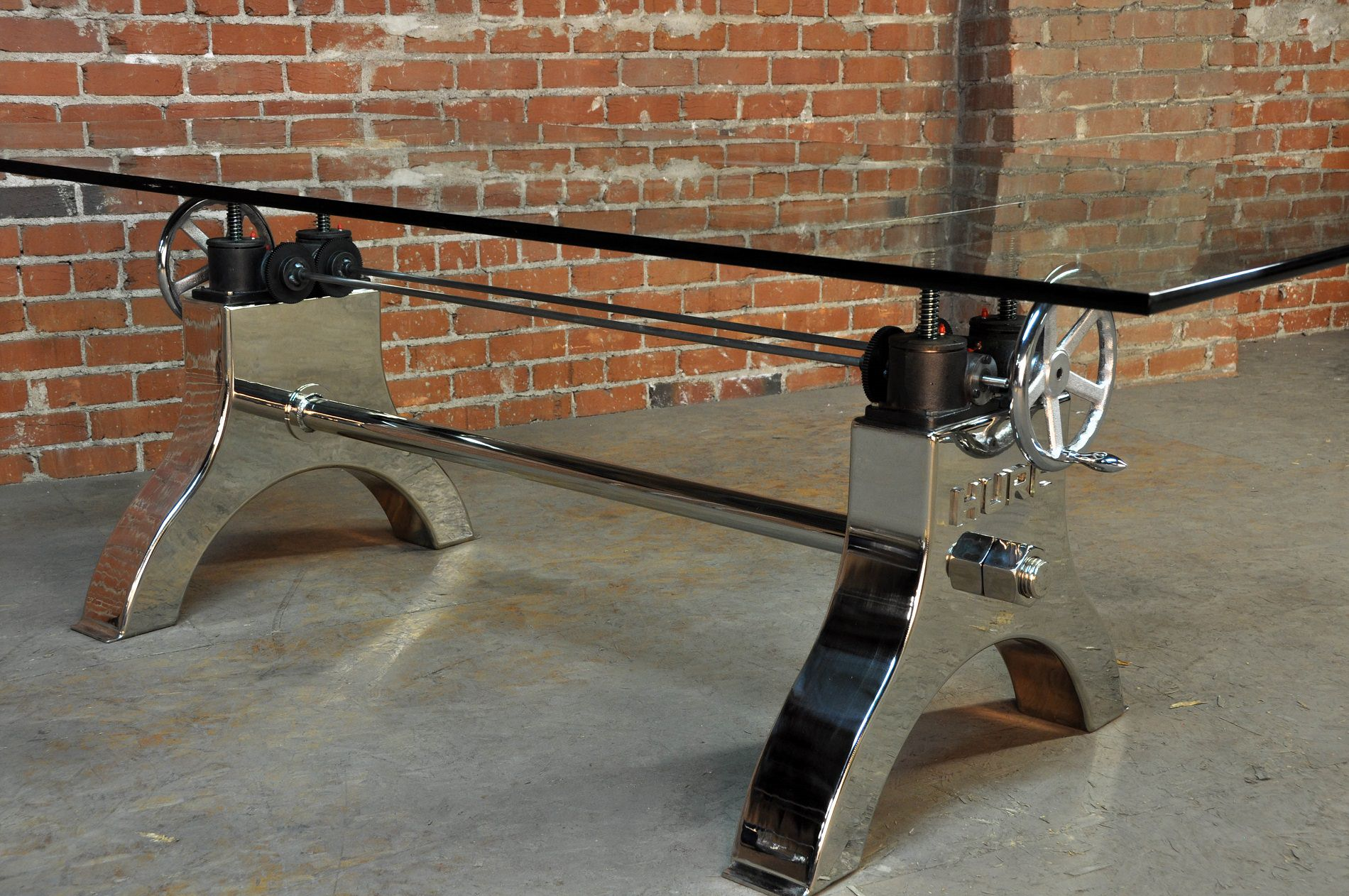 Chrome Modern Industrial Hure Dining Table  Vintage
