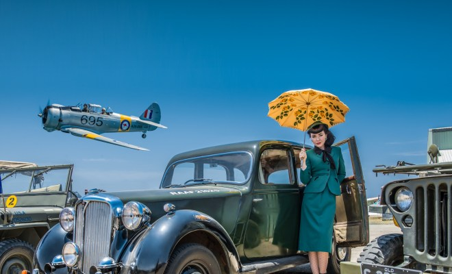 Kat Creasey with RAAF warbirds and staff car