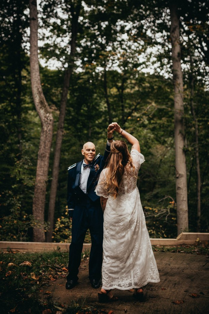 bride dancing with dying father