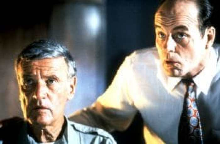 Richard Anderson and Michael Ironside in The Glass Shield, 1994