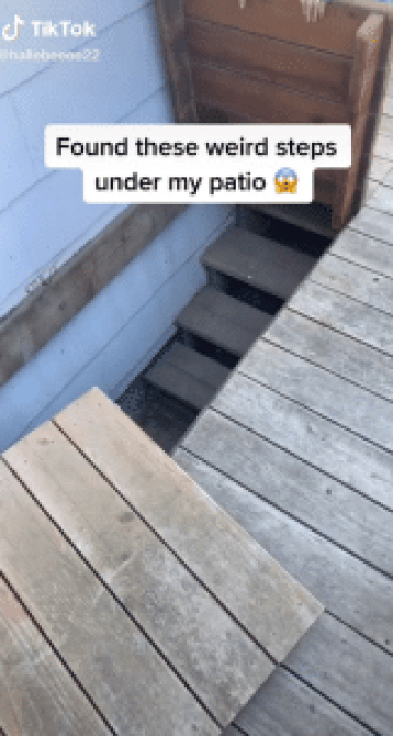 Some mismatched patio opened to reveal a hidden staircase and so much more / TikTok screenshot