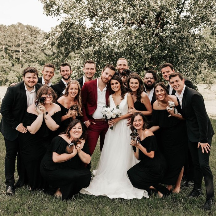 bridal party and puppies