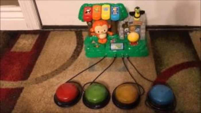 An example of a switch adapted toy. These use larger switches so children with special needs can use them more comfortably