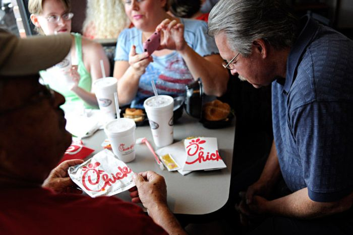 People eating at Chick-fil-A