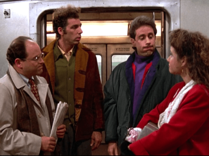 Seinfeld main characters, left to right: George, Kramer, Jerry and Elaine