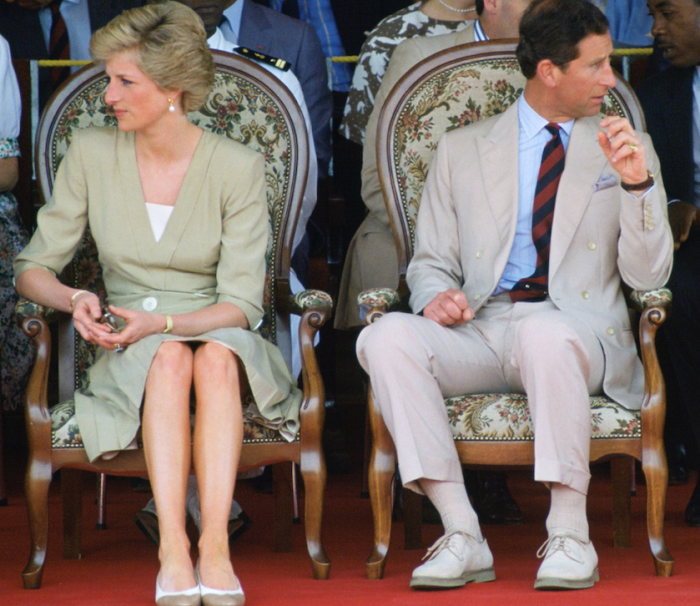photo of princess diana crying prince charles looks away trouble marriage
