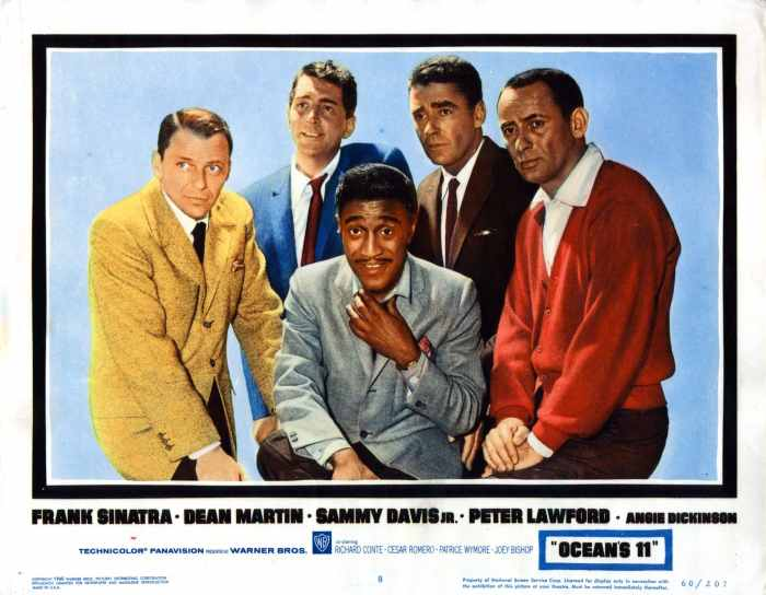 OCEAN'S ELEVEN, (aka OCEAN'S 11), from left, Frank Sinatra, Sammy Davis, Jr., Dean Martin, Peter Lawford, Joey Bishop, 1960