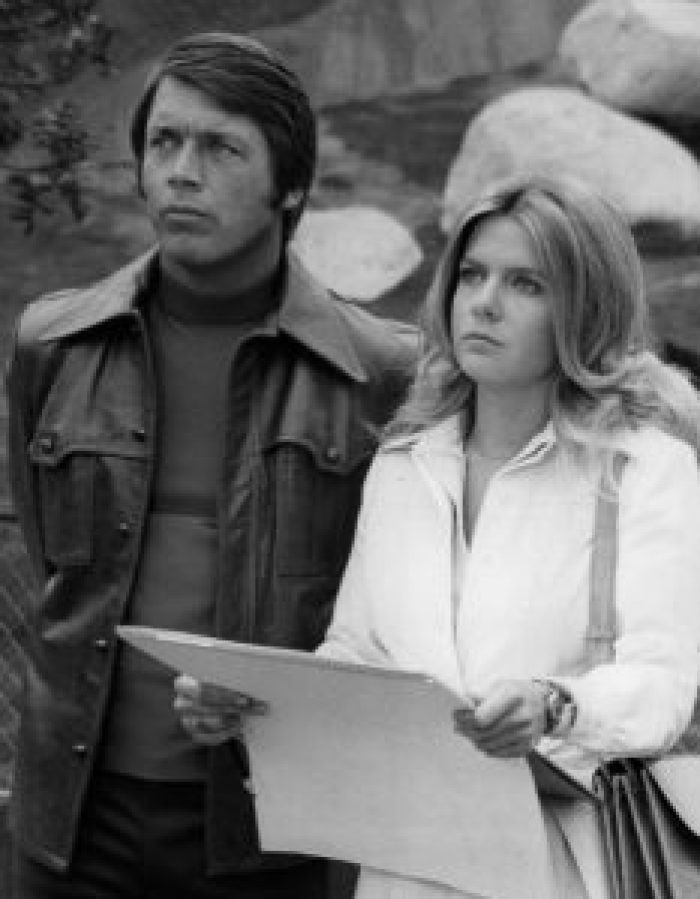 Chad Everett (left) fell in love with Shelby Grant when he first saw her. Pictured: Everett and Meredith Baxter for Medical Center