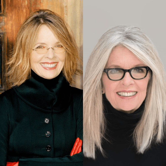 Diane Keaton finally ditched the blond streaks for complete gray and is beautiful!