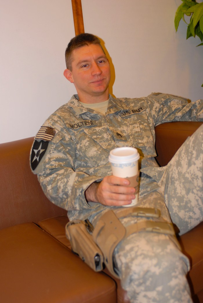 soldier drinking coffee
