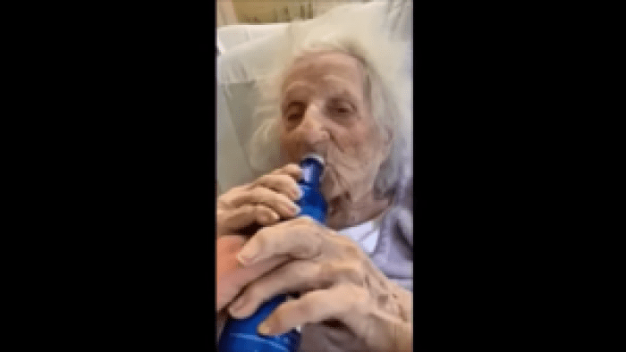 A video captured the moving and amusing moment this persistent grandma celebrated her victory