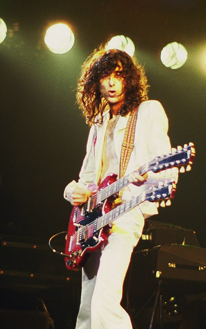 """Jimmy Page using a double-necked guitar to perform """"Stairway to Heaven"""" live."""