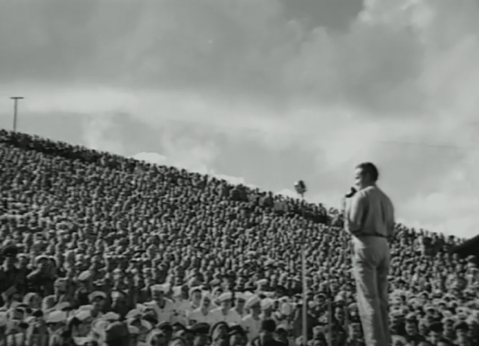 Bob Hope entertaining thousands of American troops