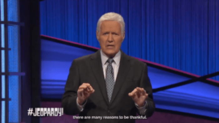 Alex Trebek addressed a fretful nation with a Thanksgiving message