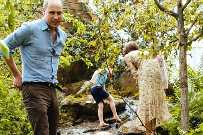Prince William in the garden with his family