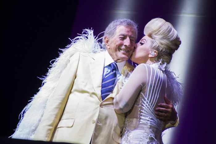 The singer-songwriter and actress Lady Gaga (Stefani Joanne Angelina Germanotta) and the singer Tony Bennett (Anthony Dominick Benedetto)