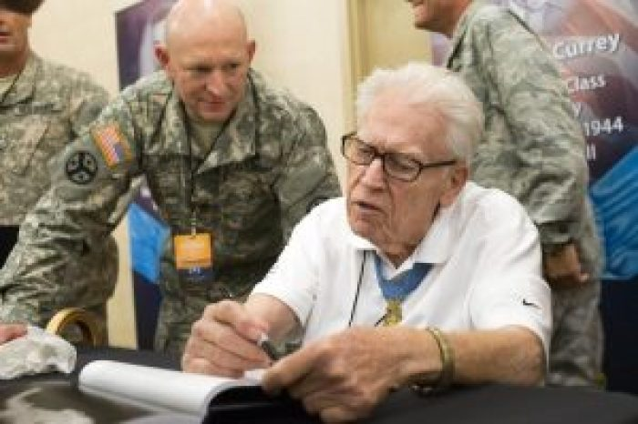Medal of Honor recipient Francis Currey at an autograph session at the Congressional Medal of Honor Society convention in Knoxville, Tennessee