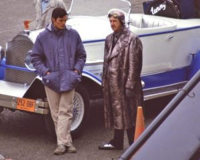 Christopher Reeve and Gene Hackman during filming.
