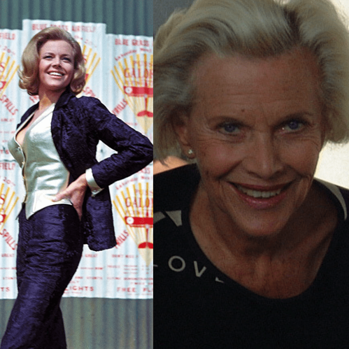 Honor Blackman as Pussy Galore in Goldfinger pictured next to recent photo.