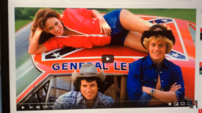 With visuals ready, Abraham explained his association between the Confederate flag and Daisy Duke