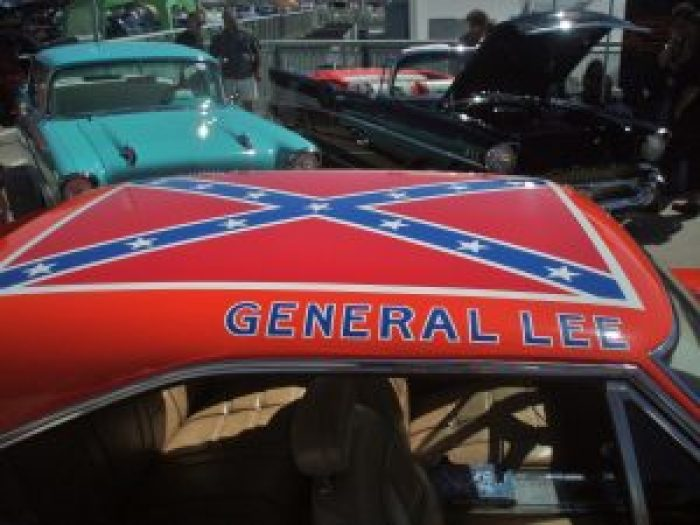 The General Lee car from Dukes of Hazzard bears a Confederate flag