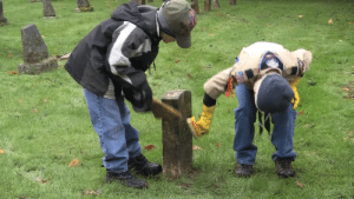 Other Boy Scout troops took up similar projects, such as here at Bellingham's Bayview Cemetery