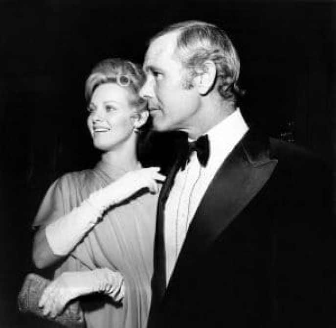 Johnny Carson, with Angel Tompkins