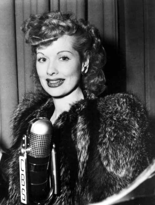 Lucille Ball, at the CBS microphone, 1942