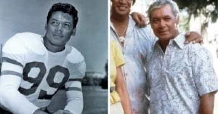 Squirmin' Herman in his football days and with the cast of Hawaii Five-O
