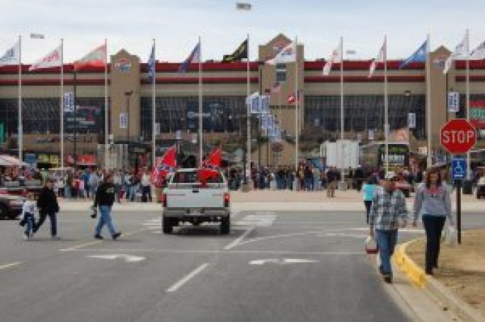 The Confederate flag appears at numerous racing venues, from NASCAR to the Atlanta Motor Speedway
