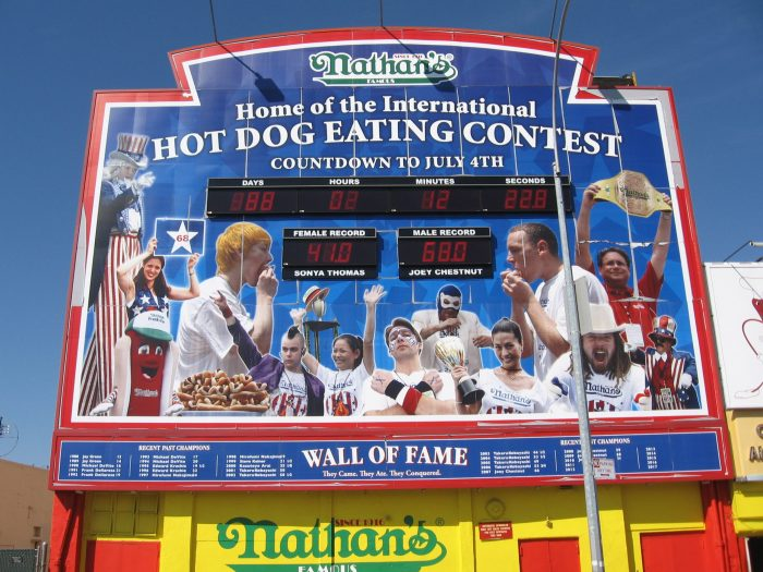nathans hot dog eating contest sign