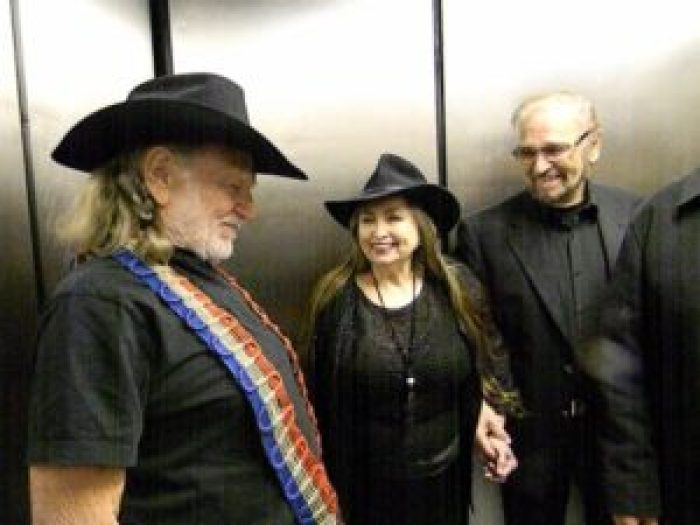 Willie Nelson, Bobbie Nelson, and drummer Paul English