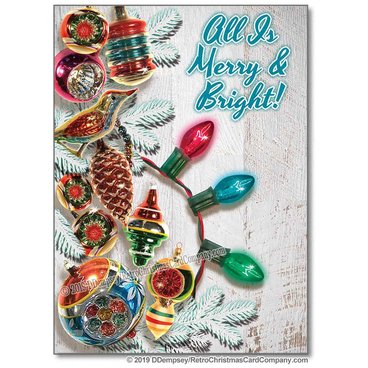 Vintage Ornaments Christmas Cards, Retro Style Christmas Cards