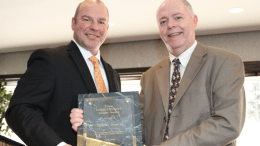 """In recognition of COUNTRY Financial's commitment to energy and operational efficiency, Mitchell J. Farrell (left), district general manager for Trane, presented Trane's """"Energy Efficiency Leader Award"""" to Randy Hagerty, manager of property and facilities for COUNTRY Financial. PHOTO: Trane"""