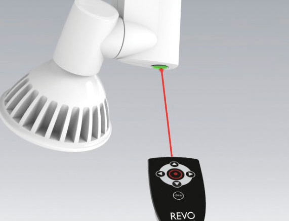 Motorized track head can be adjusted via remote control retrofit nspec a division of nora lighting introduces revo a motorized track head mozeypictures Choice Image