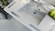 The new MATRIX family of wash basins from Pressalit Care features built-in grab handles.