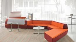 lounge is designed to be easily reconfigurable in a variety of ways to accommodate many settings