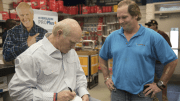 Terry Bradshaw surprises Ferguson customers.