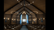 The United Church of Christ is illuminated by 40 wall sconces, 80 canned, ceiling lights and 120 bulbs in wagon wheel chandeliers.