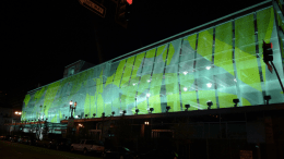 LAPD's parking structure and motor pool maintenance facility in Los Angeles features painted façade panels.