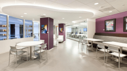 Leesburg, Va.-based VA Spaces focused on creating a sophisticated business environment for AdvantEdge Business Centers, Washington, D.C. The space features comfortable styling and flexible work areas, as well as a 50-person training facility featuring an operable glass partition, an upscale lounge and a café.