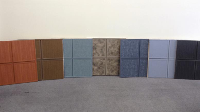 Designer Series Wood, Stone and Metal Finishes (left to right): Warm Cherry, Honey Oak, Green Slate, Spanish Stone, Gray Slate, Brushed Zinc, Dark Walnut