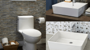 American Standard's Loft consists of a one-piece toilet and two rectangular above-counter lavatories.