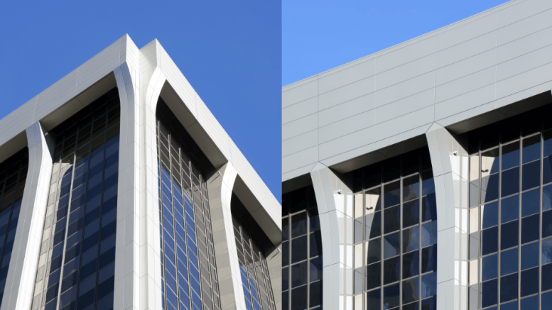 Not only did the Reynobond ACM deliver the desired lightness, formability and price point, but the material also blended with a partial metal over-clad of Reynobond panels that had been added to the base of the building in 2003.